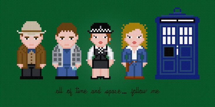 Médico 11 y Compañeros de Doctor Who por AmazingCrossStitch