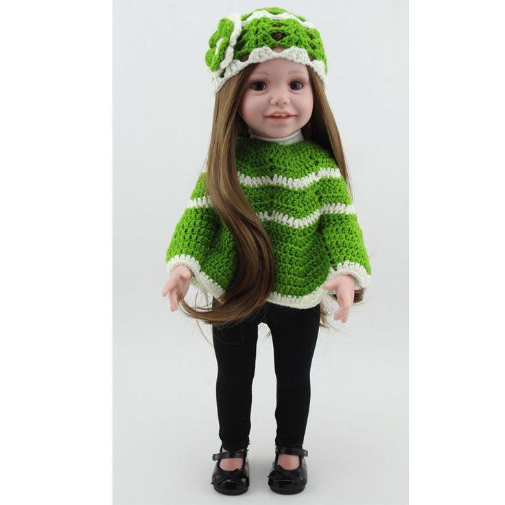 Купить товар18 дюймов 45 см возрождается кукла для детей длинные вьющиеся волосы театр игрушки отличный подарок сопровождать сна куклы для ребенка в категории Куклына AliExpress.   Fashion Navy Style Cap and Skirt For 18 Inch American Girl Doll Accessories For Baby Doll Bubble Sleeves Dress For Dol