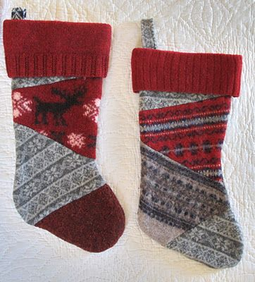 A tutorial for making stockings from felted wool sweaters