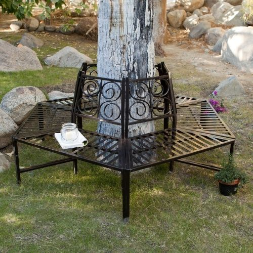 Tree Hugger Bench In All Weather Black Metal Surrounds