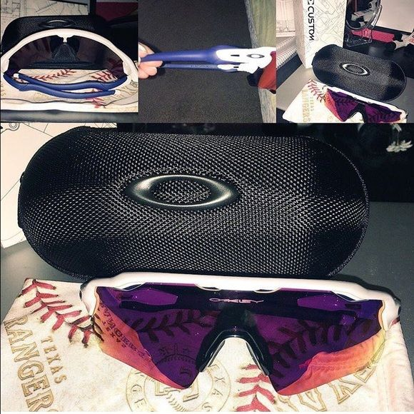 Brand new customized Oakley sunglasses Never been worn brand new pair of customized Oakleys. Ideal for baseball players but anybody can rock them. The color on the legs are changeable! Oakley Accessories Sunglasses