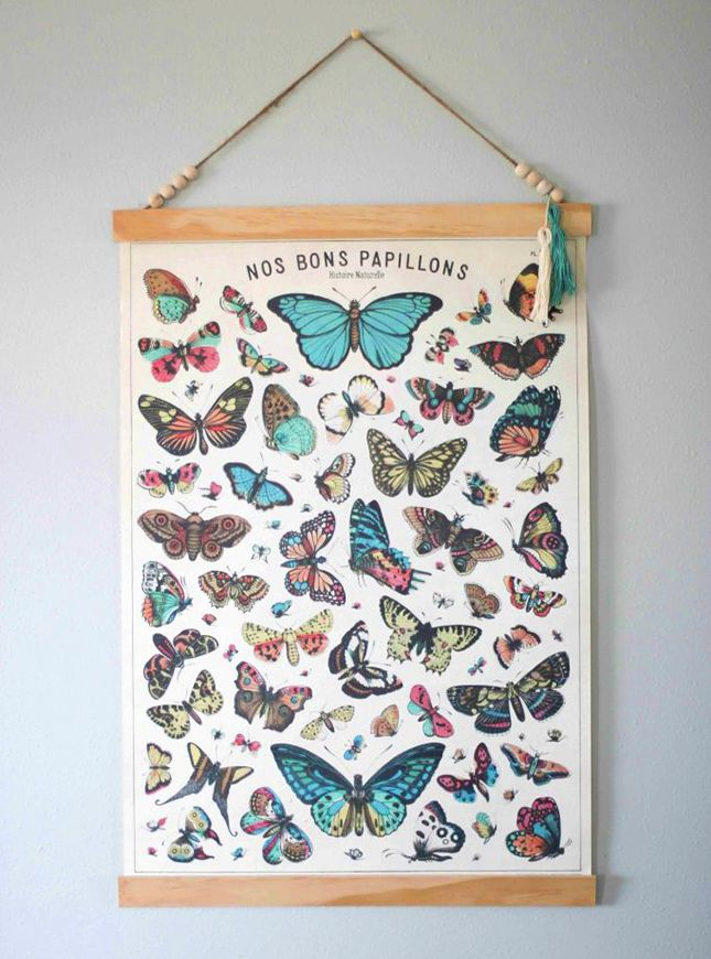 All you'll need is twine, two pieces of 1/8″ wood and a fun print to make this hanging poster.