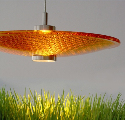 Yellow Pendant Lamp. 12 Inches In Diameter From Greenlight Concepts. Flying  Over Grass:
