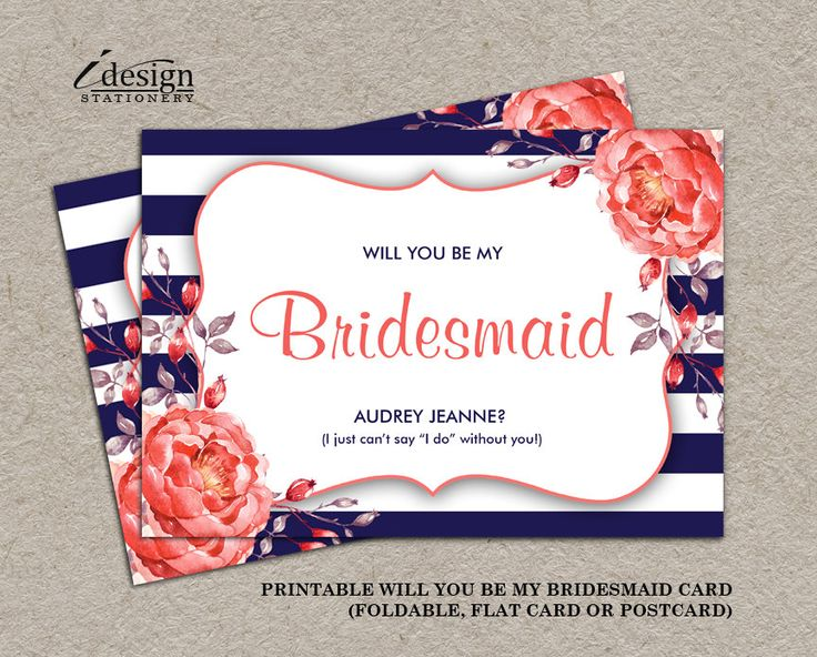 Navy And Coral Will You Be My Bridesmaid Invitation Cards | DIY Printable Stripe Floral Bridal Party Proposal Card By iDesignStationery. www.idesignstationery.com