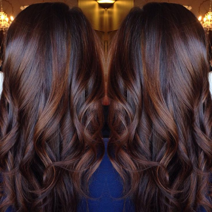 Best 25 dark hair highlights ideas on pinterest dark brown hair long curled chocolate brown hair with cinnamon highlights pmusecretfo Choice Image