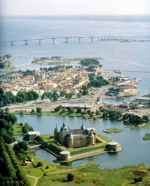 Kalmar, Sweden- not Nybro like another pinner wrote. This is an aerial view of Kalmar slott (castle)