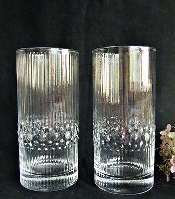 2 Iittala Finland Tapio Wirkkala Mesi Glasses Crystal Tumblers 6 1/4 Tall