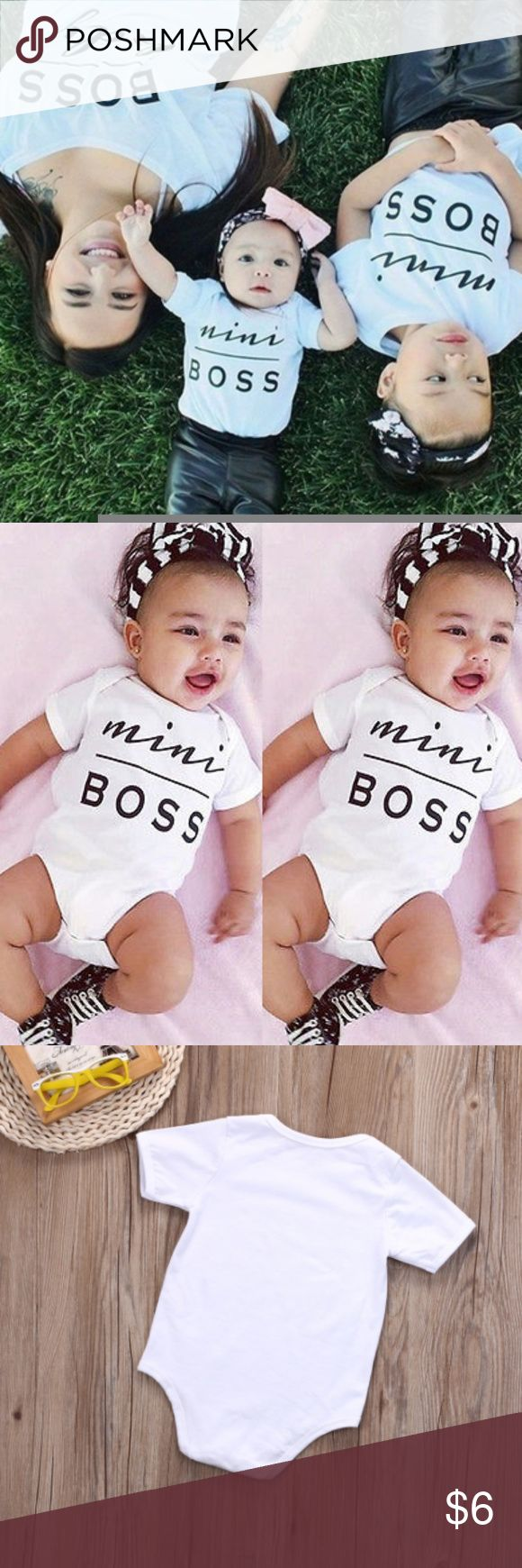 """6-9 mo. onesie """"Mini Boss"""" Infant one piece onesie matches size small child t-shirt with same title One Pieces Bodysuits"""