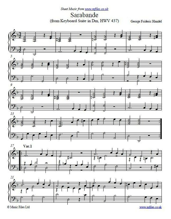 This Is The Sarabande From Handels Keyboard Suite In Dm It Quite A Famous