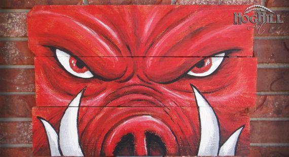 "Arkansas Razorbacks paintings | Arkansas Razorback painting ""Tusks"" on hand-made wooden ... | I Like"
