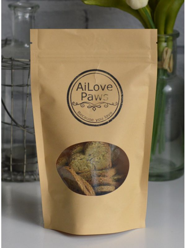 Black Sesame Dog Biscuits  Try these healthy, hand-made snacks and treats for your dog.  Contains the goodness of raw honey & turmeric. Made with Oat flour and wheat flour.