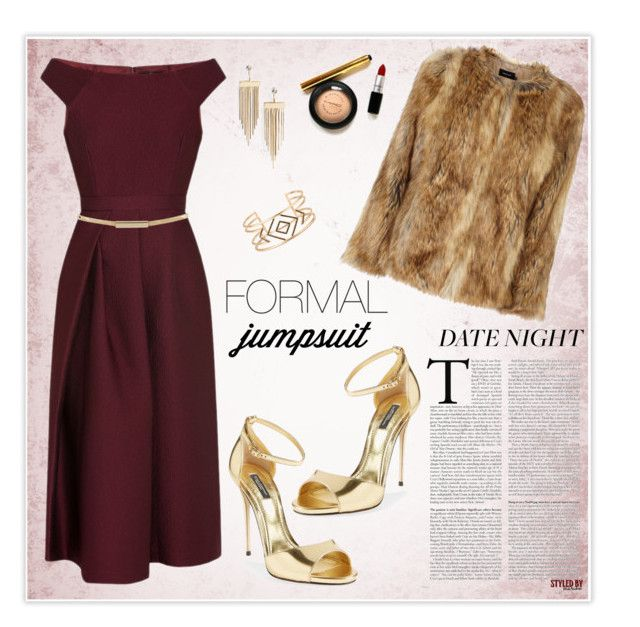 """""""Date Night: Jumpsuit Style"""" by marion-fashionista-diva-miller ❤ liked on Polyvore featuring Dolce&Gabbana, TIBI, Karen Millen, Topshop, Stella & Dot, DateNight, jumpsuit, fur, goldsandals and goldjewelry"""