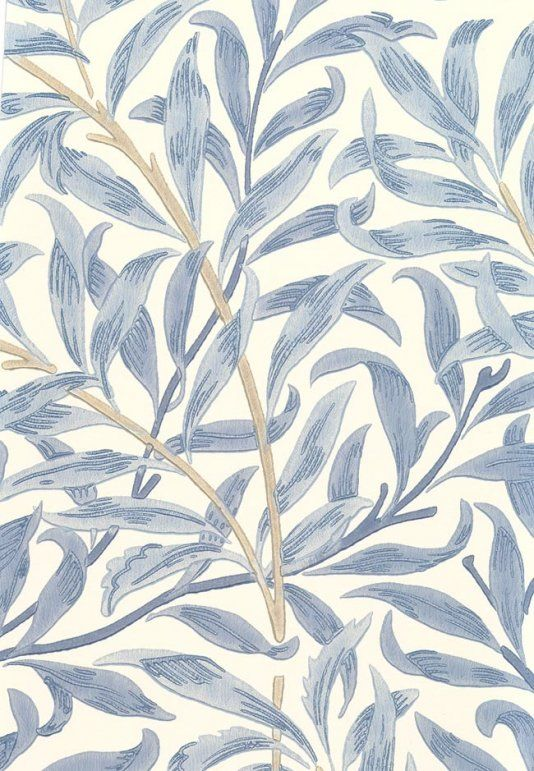 Willow Boughs Wallpaper Climbing willow leaf print wallpaper blue on cream
