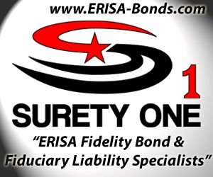 Surety One, Inc. is one of the largest writers of ERISA fidelity bonds in the U.S.  Super fast bonding!  Plans with non-qualifying assets, labor unions and multiemployer plans welcome!  www.ERISA-Bonds.com.  National fidelity bond leader #erisabond #fidelitybond