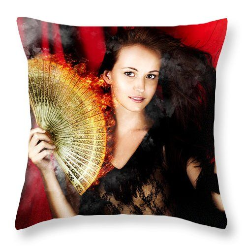 Broadway Throw Pillow featuring the photograph Hot Female Fire Dancer by Jorgo Photography - Wall Art Gallery
