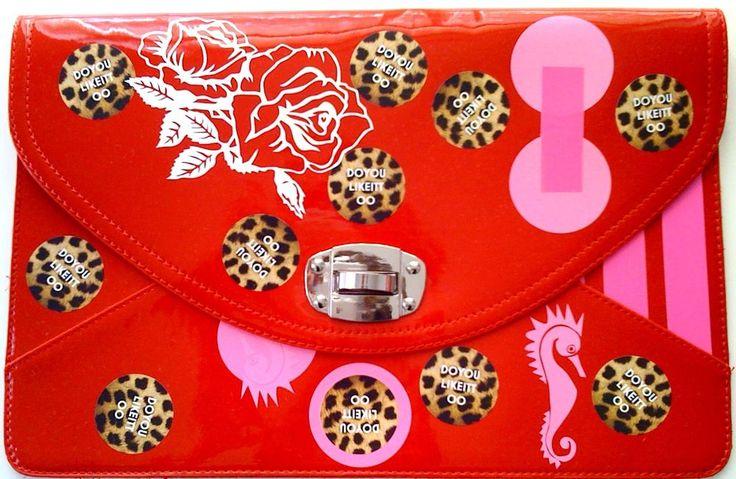 UNIKAT von DOYOULIKEITTOO/CLUTCH-UNTERARMTASCHE-ROT/LACK/ROSA in Kleidung & Accessoires, Damentaschen   eBay!