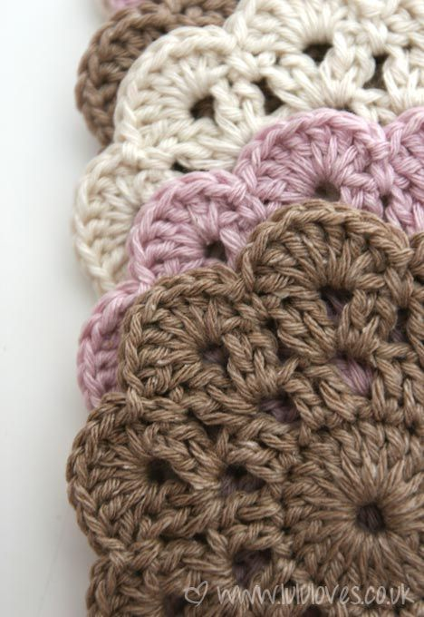 Pretty Crochet Coasters Very Easy And Quick Motif Going