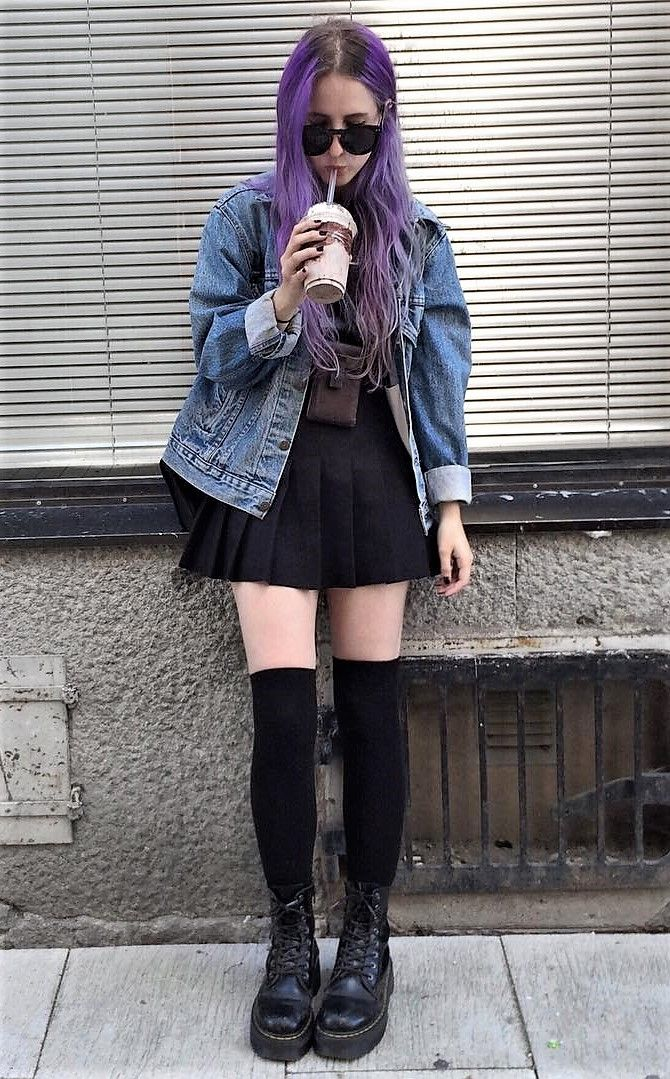 Sunglasses with denim jacket, black top, black skirt, long socks & vintage lace up boots by aliencreature