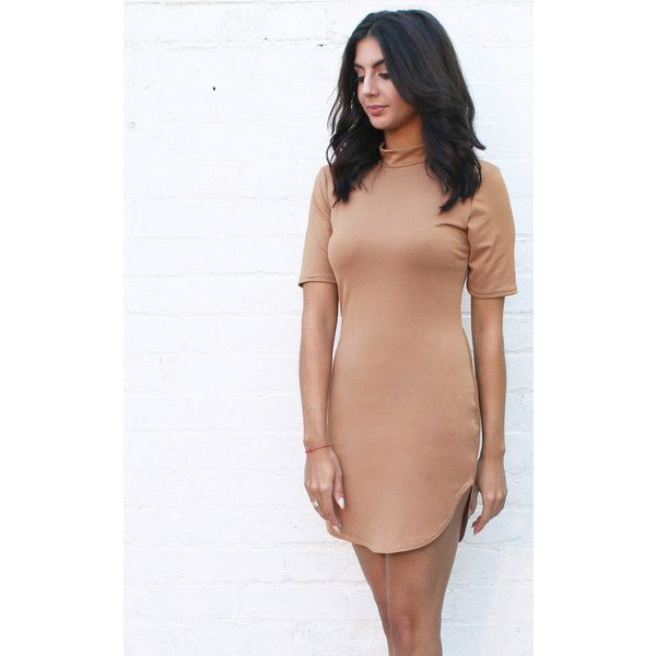 One Nation Clothing Kylie Curve Hem High Neck Bodycon Fit Short Sleeve... ($43) ❤ liked on Polyvore featuring dresses, neutral, body con dress, beige dress, beige cocktail dress, short sleeve mini dress and turtleneck bodycon dress