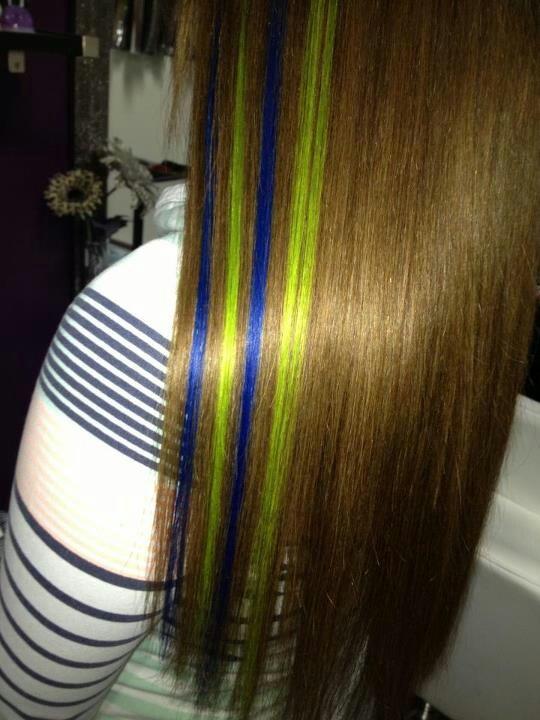 Blue green hair streaks