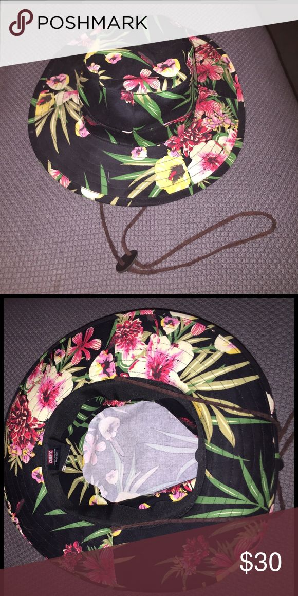 OBEY floral bucket hat OBEY floral bucket hat. Wide brim with long drawstring Obey Accessories Hats