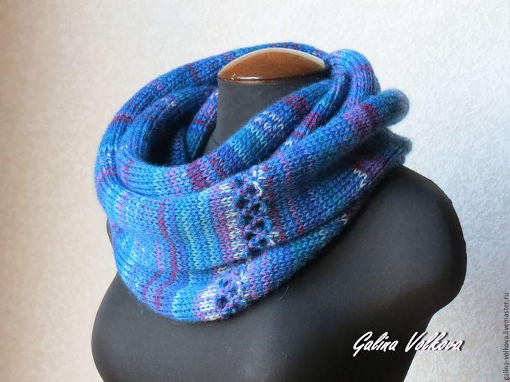 Купить Вязаный шарф хомут снуд накидка Синий микс мужской женский - синий, шарф