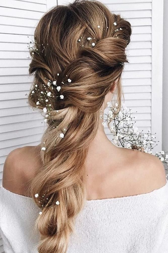 Best Wedding Hairstyle Trends 2019 Wedding Hairstyle Trends Rustic Braid Textured With Baby Breath Sam Hair Styles Long Hair Styles Unique Wedding Hairstyles