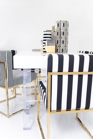 007 Dining Chair In Black And White Stripes Colgate Chairs Room