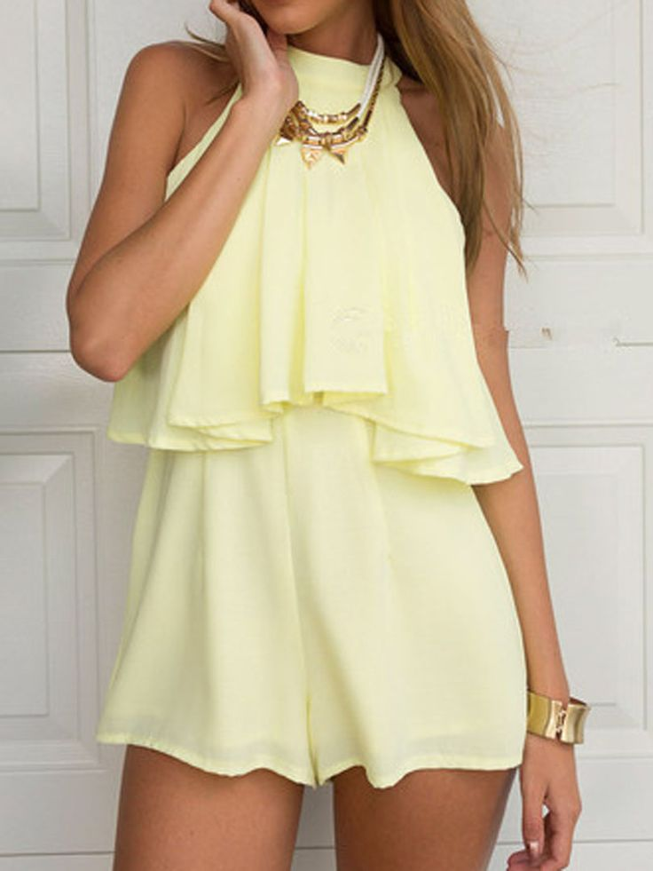 Yellow Layered Top Cut Away Detail Romper Playsuit