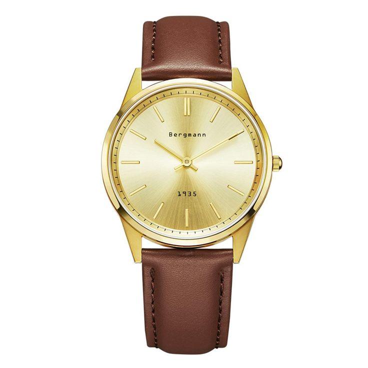 German Brand Bergmann Bauhaus Style Vintage Watch Men Gold Quartz Watches Genuine Leather Extra Thin Slim Casual Wristwatch