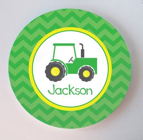 Such a cute tractor plate!  He'd just love eating off this every day!  #tractor #johndeere #tractorparty #personalizedplate