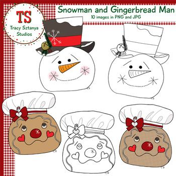 Snowman and Gingerbread Man FREEBIE {Tracy Sztanya Studios}