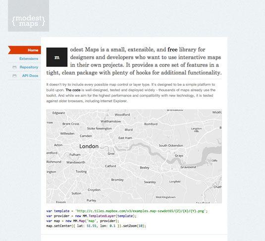 MODEST MAP è un semplice strumento di mappatura per i web designer; è possibile sviluppare mappe interattive da integrare all'interno del proprio sito, e utilizzarle come strumento di visualizzazione dei dati.