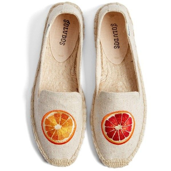 Soludos 'Oranges' Embroidered Espadrille Slip-On (575 EGP) ❤ liked on Polyvore featuring shoes, flats, sand woven, woven flat shoes, orange flat shoes, slip on shoes, woven flats and orange shoes