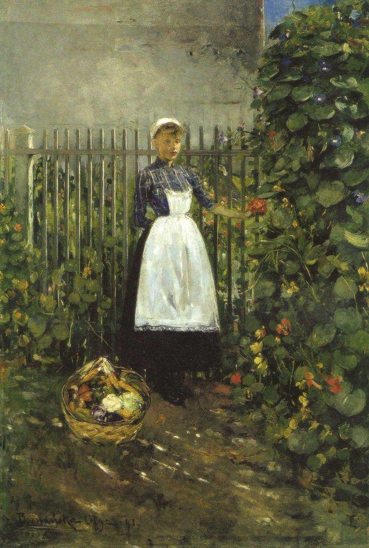 Olga Boznanska (1865-1945) Dziewczynka z koszem jarzyn w ogrodzie 1891