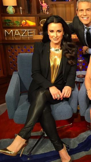 Kyle Richards' Gold Fringe Necklace on Watch What Happens Live