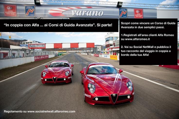 Fino al 14 ottobre, puoi vincere 1 Corso di Guida Avanzata per una persona della durata di 2 giorni e comprensivo di un pernottamento per due persone.  Il corso si terrà presso il Centro internazionale di Guida Sicura di Varano de' Melegari (Parma), Il top dei Corsi di Guida Alfa Romeo.    Come partecipare?  A partire dal 1 ottobre 2012 se non lo hai ancora fatto registrati all'Area Clienti Alfa Romeo (www.alfaromeo.it/it/#/mondo-alfa/area-clienti), e poi vai su Social NetWall per pubblicare…