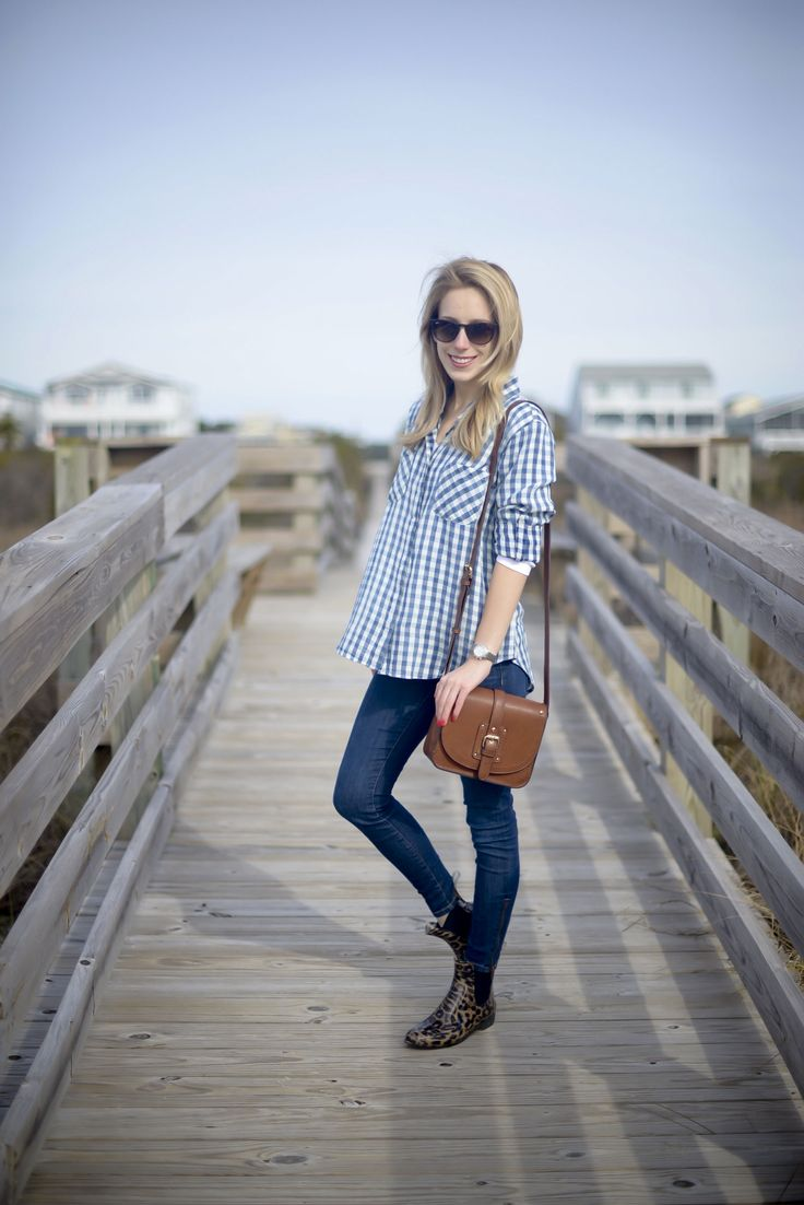 Blue Gingham Shirt at the Beach - Katie's Bliss