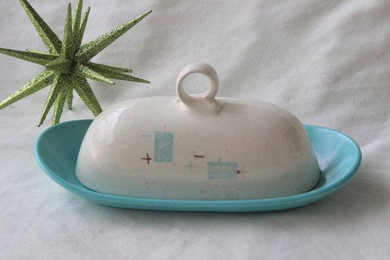 Vintage Vernonware Heavenly Days butter dish (mid century mid-century modern dishes) $45
