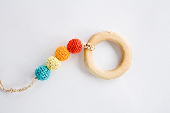 Teething Ring with Crochet Beads - Wooden Teether, Baby Toy, Sensory Teething Toy, Eco Friendly Baby Shower Gift, Babywearing - FrejaToys