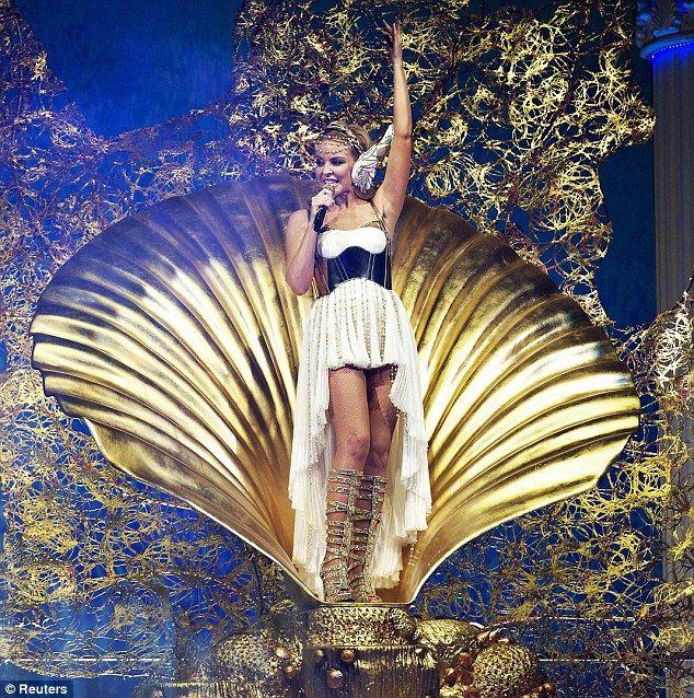Greek goddess: Kylie Minogue kicks off her Aphrodite: Les Folies Tour in Herning, Denmark