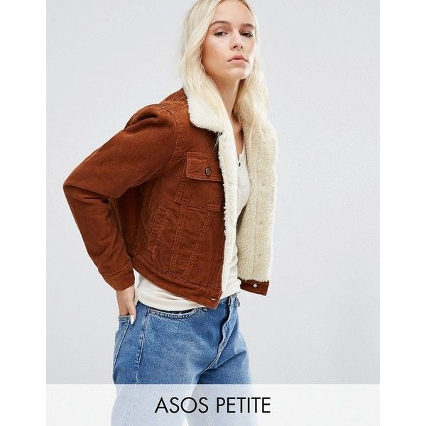 ASOS PETITE ASOS Cord Cropped Jacket with Borg in Rust (72 AUD) ❤ liked on Polyvore featuring outerwear, jackets, brown, petite, corduroy jacket, cordoroy jacket, asos jackets, brown corduroy jacket and brown jacket