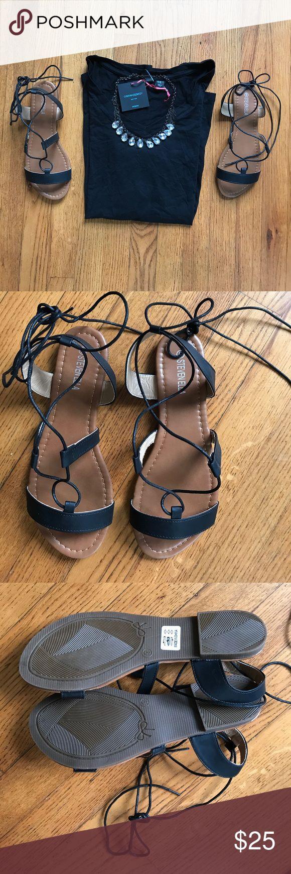 {Steven Ella} Criss-Cross Ankle-Strap Sandal [9] STEVEN ELLA INC. Black Criss-Cross Ankle-Strap Sandal. Size: 9. NWB❗️Never Worn. Bonus: Free w/ any $50.00 bundle purchase ❤️🙌🏻❗️($30.00 Value) Steven Ella Shoes Sandals