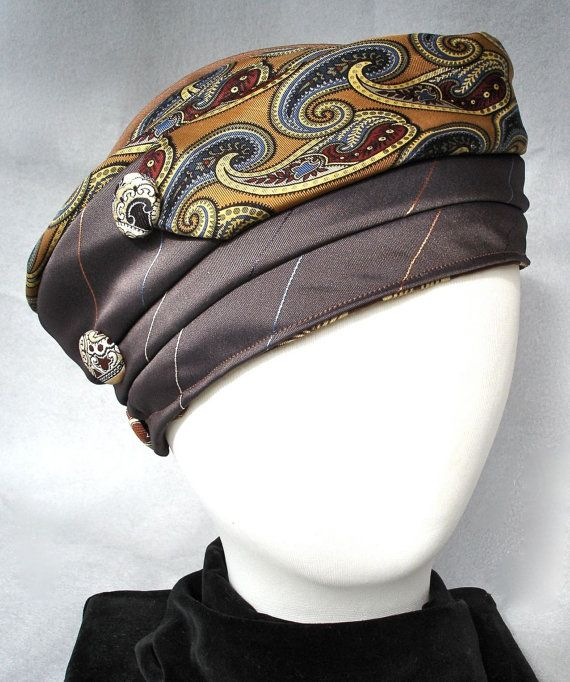 Brown and Gold Turban Made From Repurposed neckties by Rumpelsilkskin