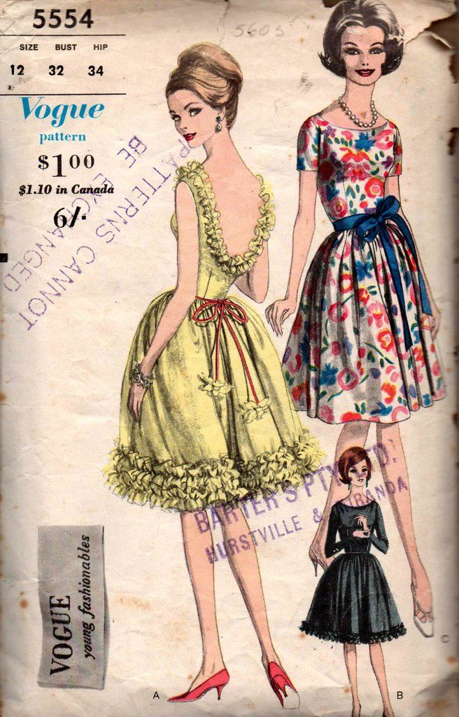 Vogue Young Fashionables 5554 Womens Full Skirt Dress with Optional Ruffle Trim 60s Vintage Sewing Pattern Size 12 Bust 32 inches