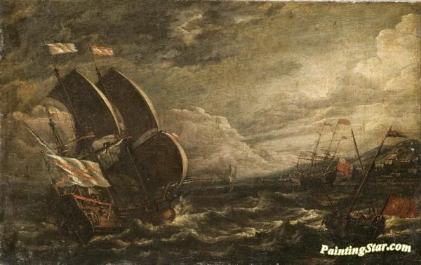 A storm at sea Artwork by A Castro Lorenzo Hand-painted and Art Prints on canvas for sale,you can custom the size and frame