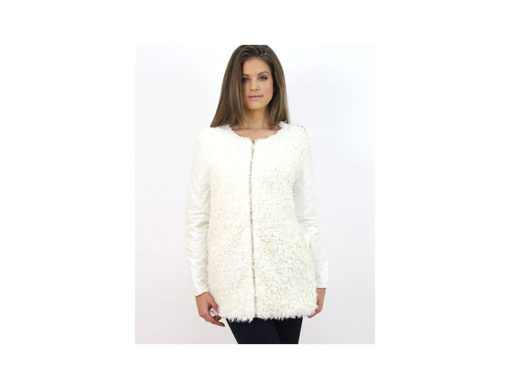 Jachetă Shearling Mânecă Piele Ecologică - Jachete & Paltoane - www.famevogue.ro  #jacheta #geaca #palton #moda #style #jacket #coat #fashion