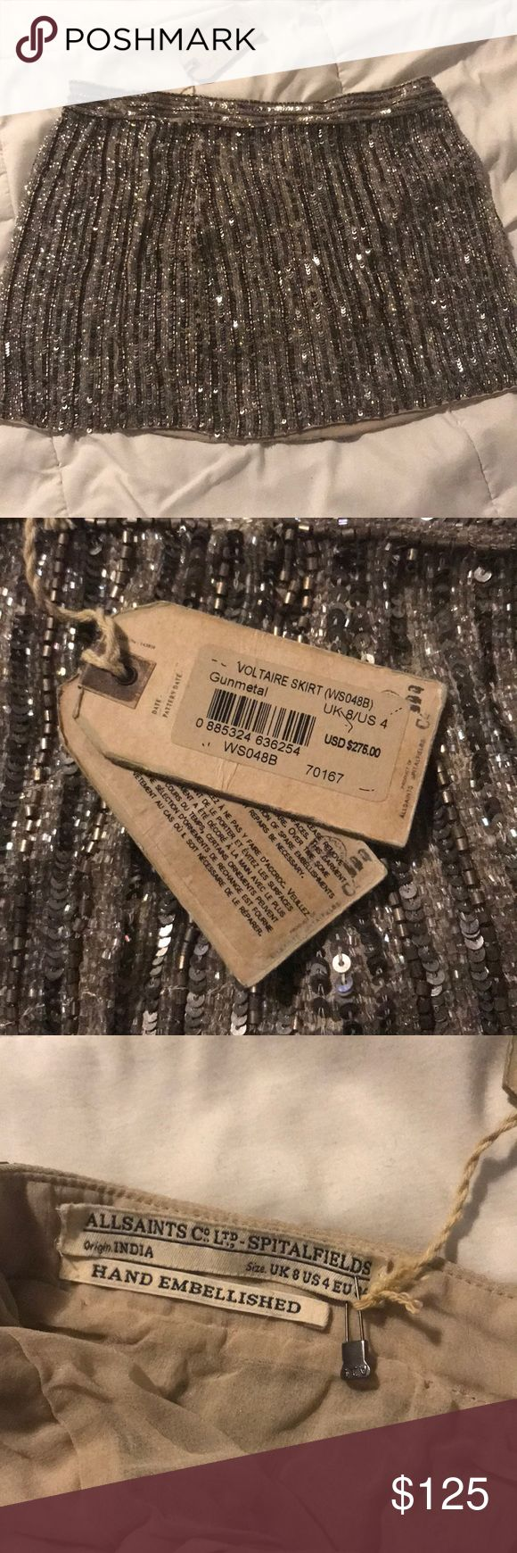 Hand embellished All Saints skirt UK 8 US 4  Hand embellished beaded and sequin mini skirt from All Saints  Brand New with Tags  Retailed $275  In perfect condition All Saints Skirts Mini