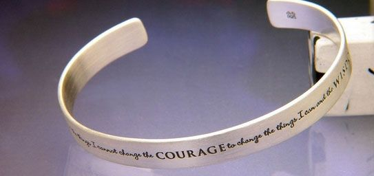 Serenity Prayer Cuff - Inscription: God grant me the serenity to accept the things I cannot change, the courage to change the things I can, and the wisdom to know the difference.