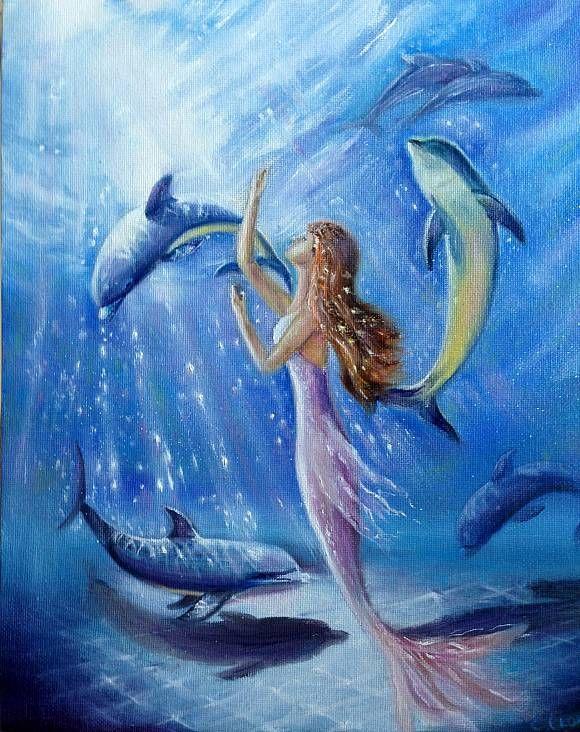 сможете картинки русалочки с дельфином увидеть